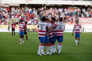 Celebración de un gol de los rojiblancos